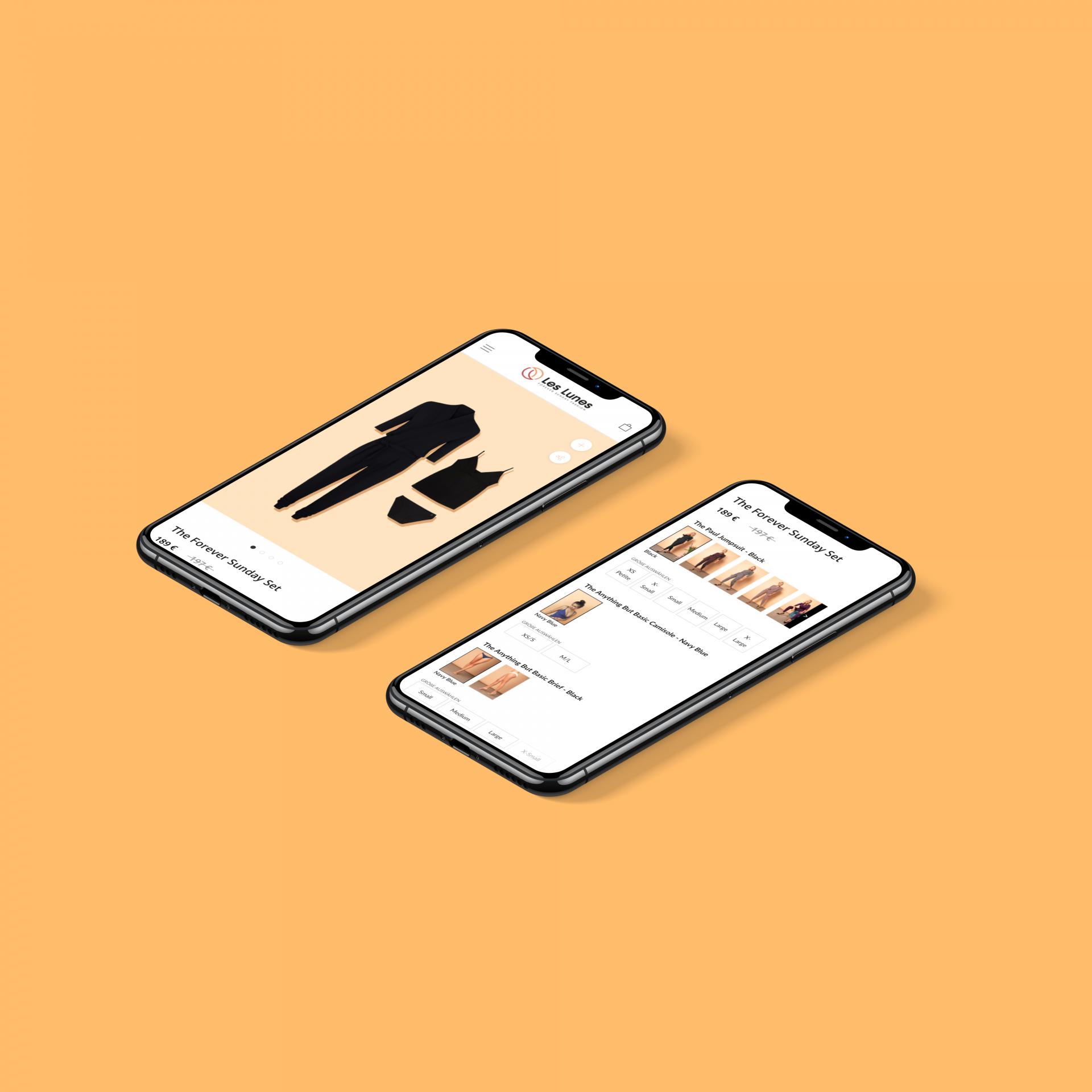 les lunes shopify bundle case study iphone mockups