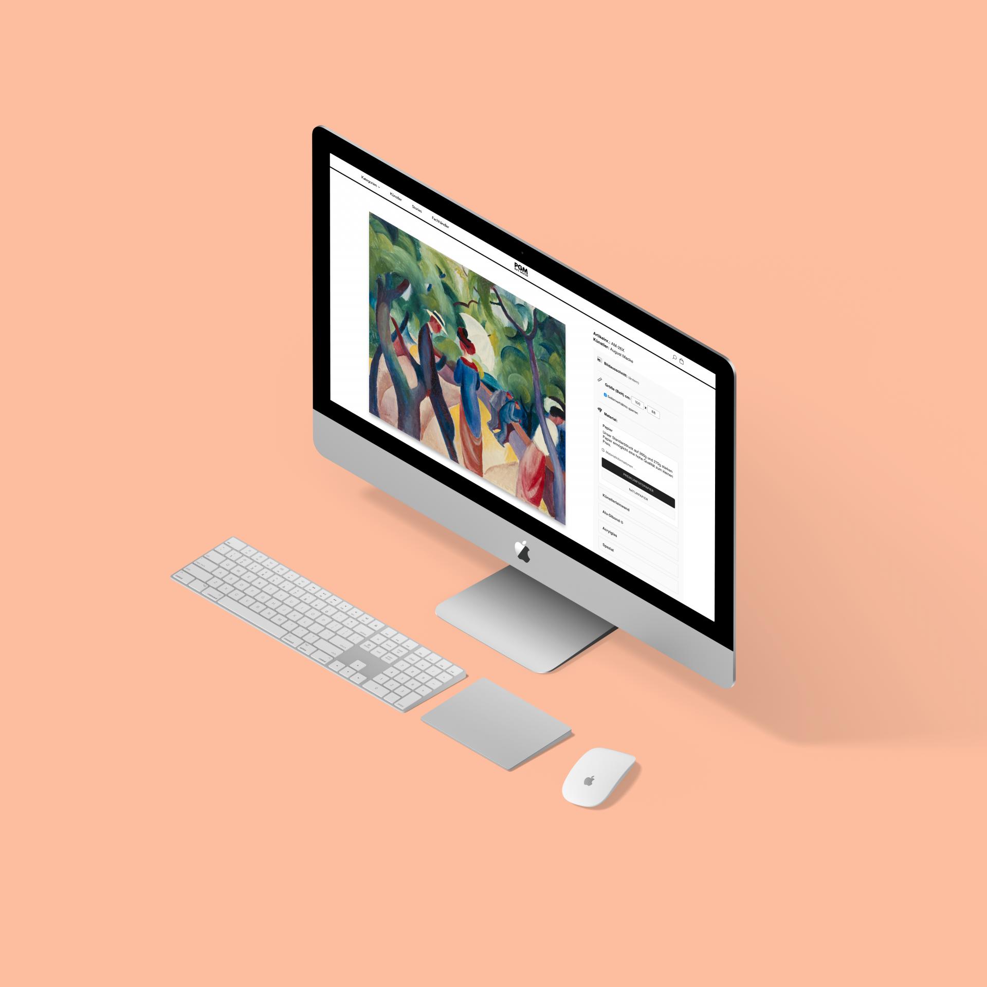 pgm artworld shopify art shop case study desktop mockup