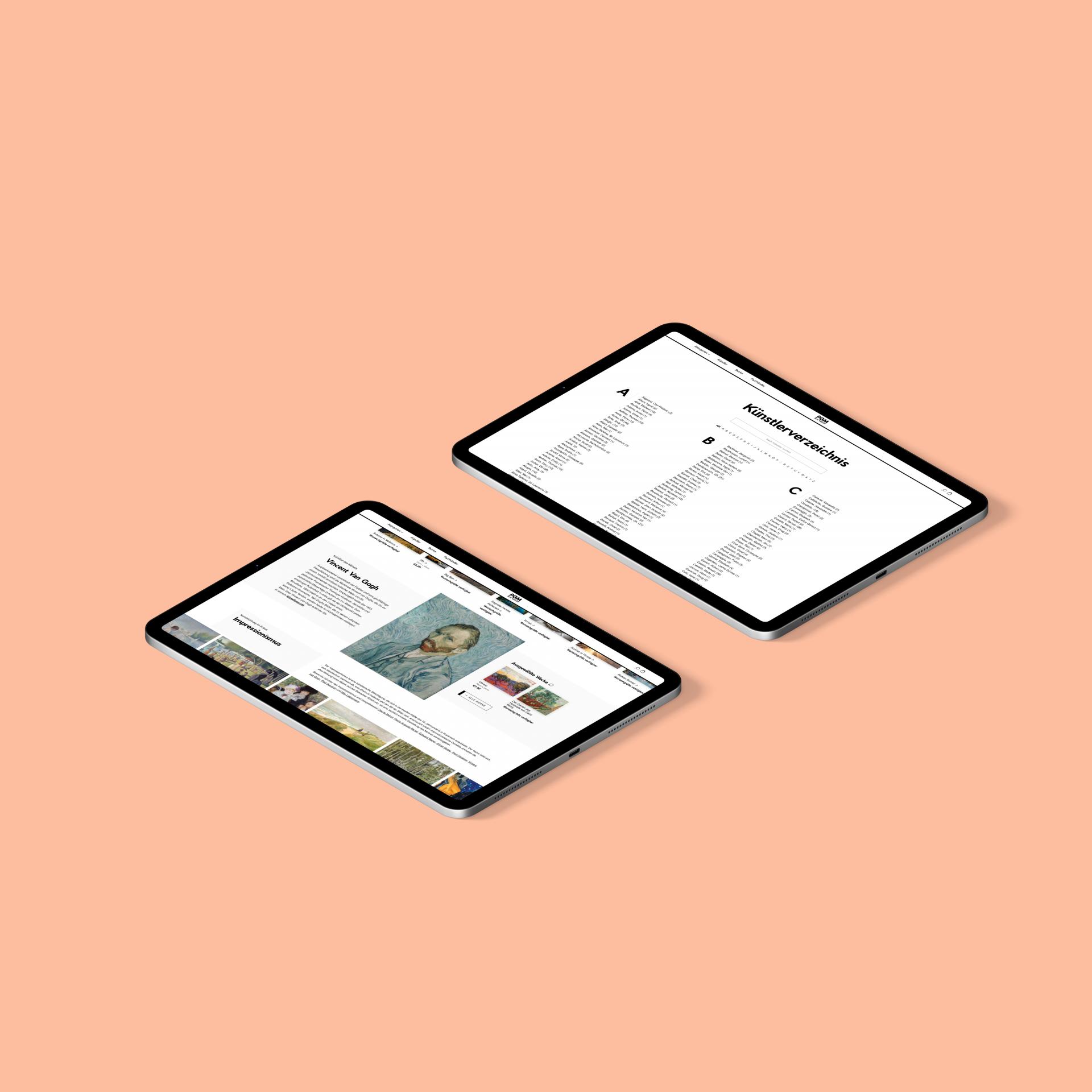 pgm artworld shopify art shop case study tablet mockups